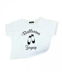 GYMO SPORTS - Bale Kısa Bluz İsme Özel Baskı Beyaz Ballerina