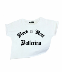 GYMO SPORTS - Bale Kısa Bluz Rock 'n Roll Ballerina V2 Beyaz