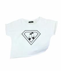 GYMO SPORTS - Bale Kısa Bluz Super Girl Beyaz