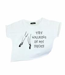 GYMO SPORTS - Bale Kısa Bluz Try Walking In My Shoes Beyaz