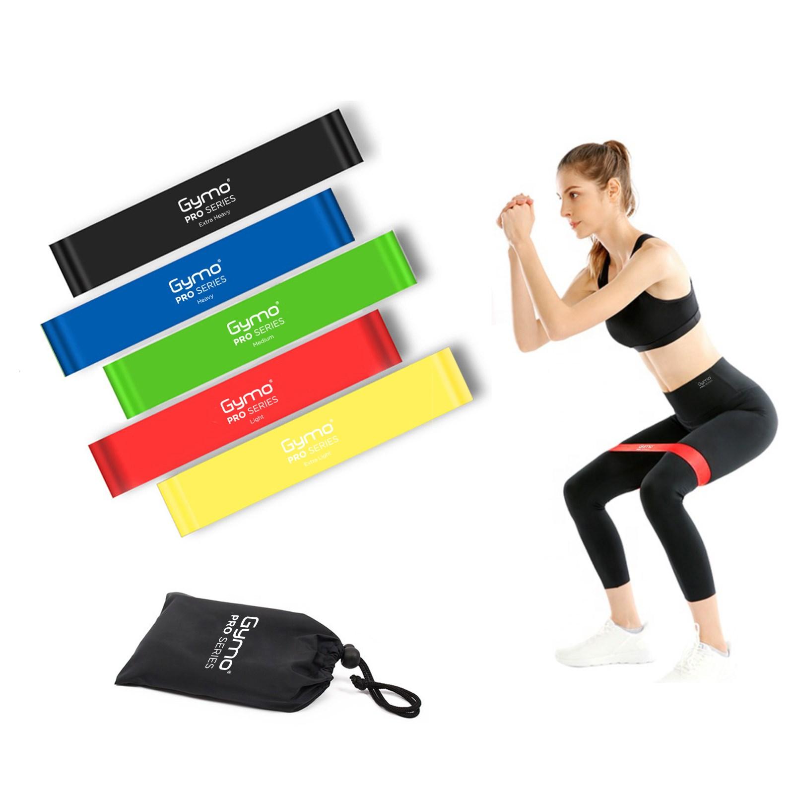 GYMO SPORTS - Gymo Çantalı Direnç Bandı Fitness Pilates Esnetme Lastiği 5'li Set