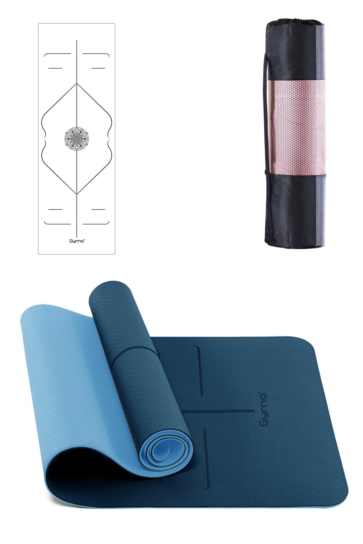 GYMO SPORTS - Gymo Hizalamalı 6mm TPE Yoga Matı Pilates Minderi Mavi